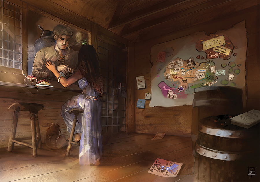 anebarone digital art and illustration - fantasy rpg tavern with couple under map - Ilustração para romance com casal de fantasia