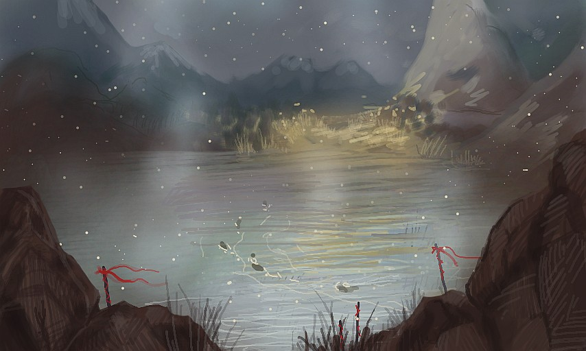 nintendo 3ds colors app - night landscape under fog mist with campfire - digital painting - Pintura Digital de Paisagens e Speedpainting paisagem com fogueira e neblina num lago