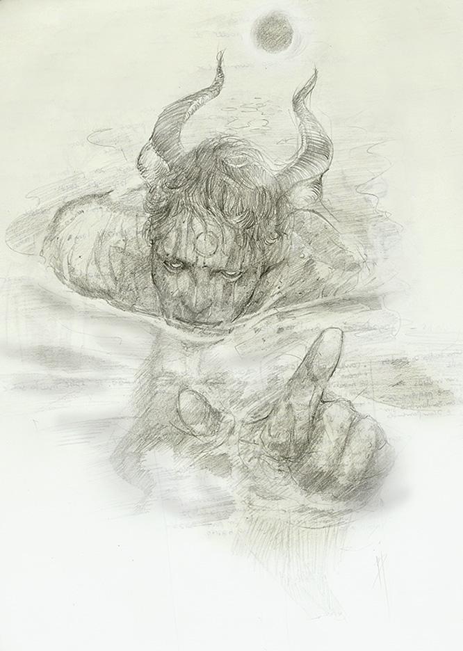 ocultismo e mitologia - desenho de um demonio ou satiro feito a lapis