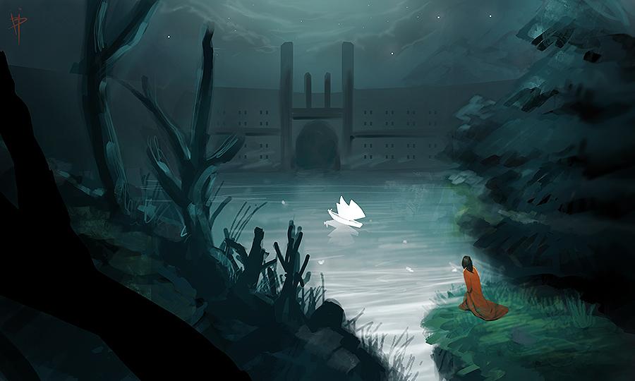 speedpaint ds colors nintendo app night fantasy illustration digital art storytelling - Pintura Digital de Paisagens e Speedpainting - personagem observa barco em lago de noite