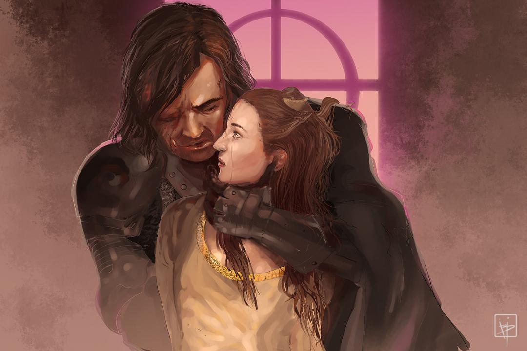 sansa and the hound or sandor clegane from a song of ice and fire - fanart guerra dos tronos ou game of thrones