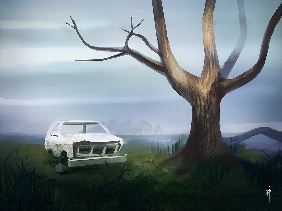 painting study of car and tree - Pintura Digital de Paisagens e Speedpainting com carro e arvore