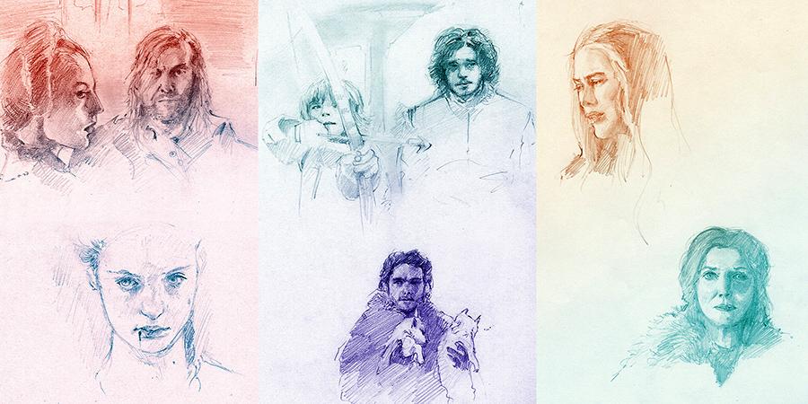 Game of Thrones screencap studies with sansa, clegane, cersei, cat, jon, bran and rob