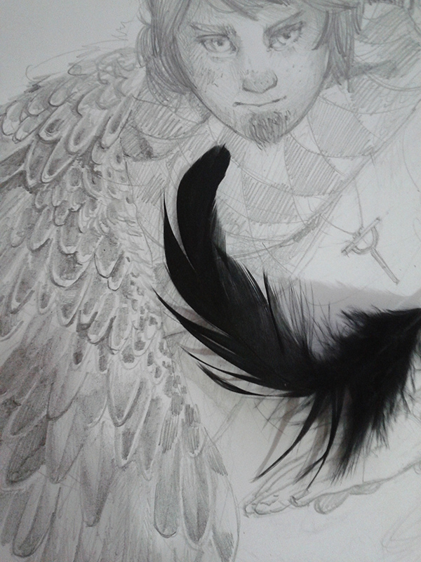 anebarone ignici wip drawing pencil traditional feather