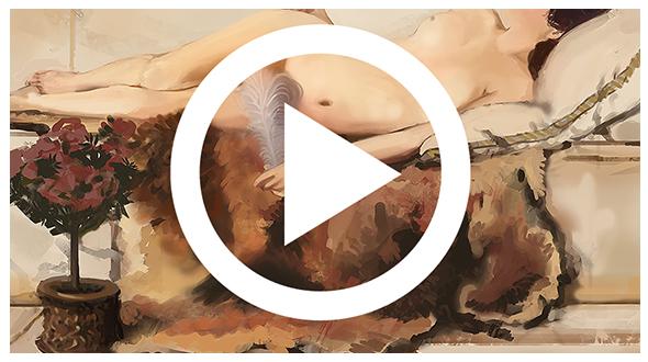 video com processo de estudo de pintura digital
