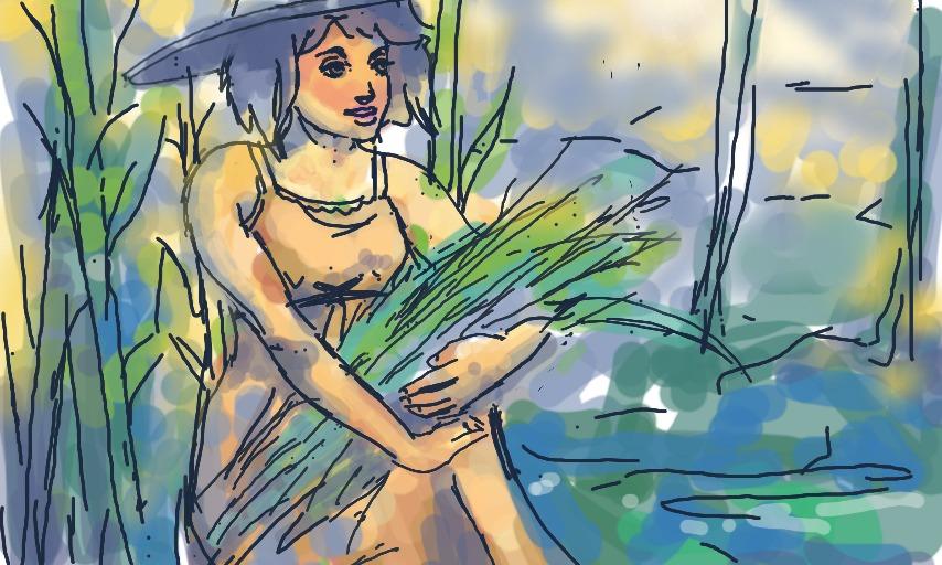 desenho de garota carregando colheita - girl in farmland