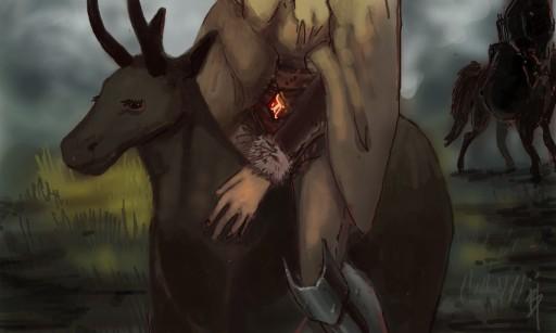 ilustração de viajante montado em criatura fantástica - illustration of a traveller and their mount