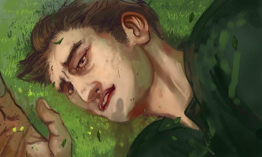 Pintura de homem gigante deitado na grama - painting of giant man laying in grass
