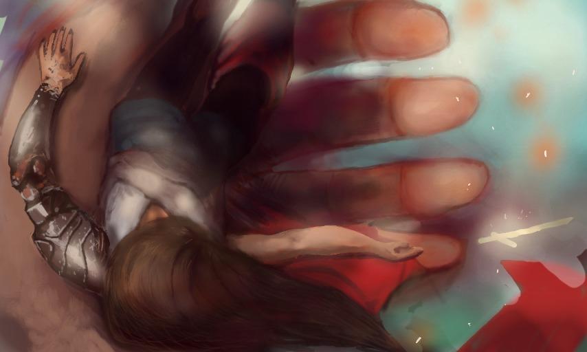 ilustração de guerreira com espada caida em mão - painting of fallen female warrior and her sword laying in a giant hand