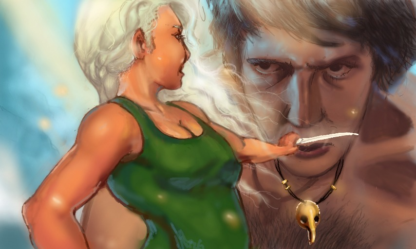 ilustracao de fantasia 3d com gigante e mulher - fantasy giant and woman illustration
