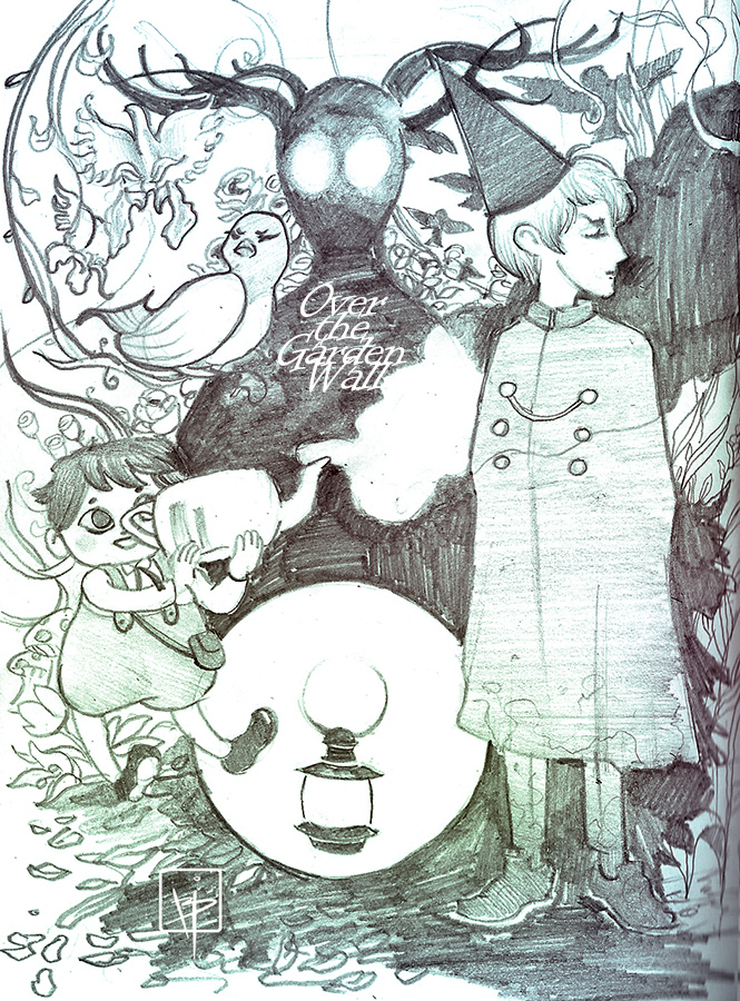 pencil sketch fanart from Over the garden wall - desenho Cartoon Network