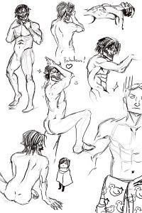 Anebarone - Desenhos e estudos de anatomia com personagens do Attack on Titan