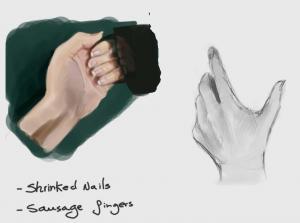 Anebarone estudos da anatomia sombreamento e pintura de mãos
