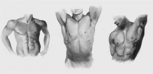 Anebarone-digital-painting-torso-studies-with-grayscale-shading