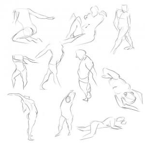 Estudos de anatomia e poses dinâmicas