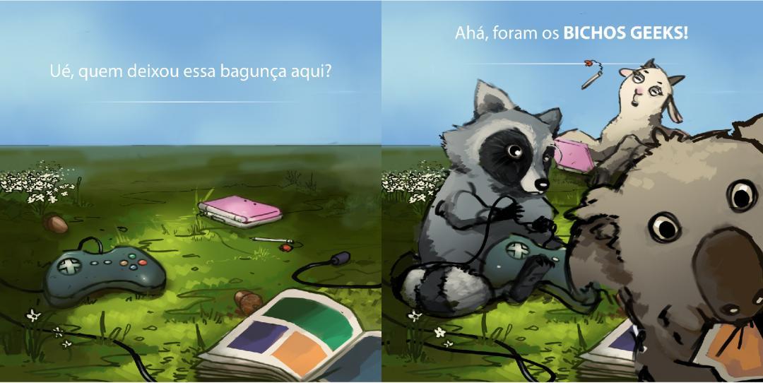ilustração com teaser de lançamento para o site bichos geeks