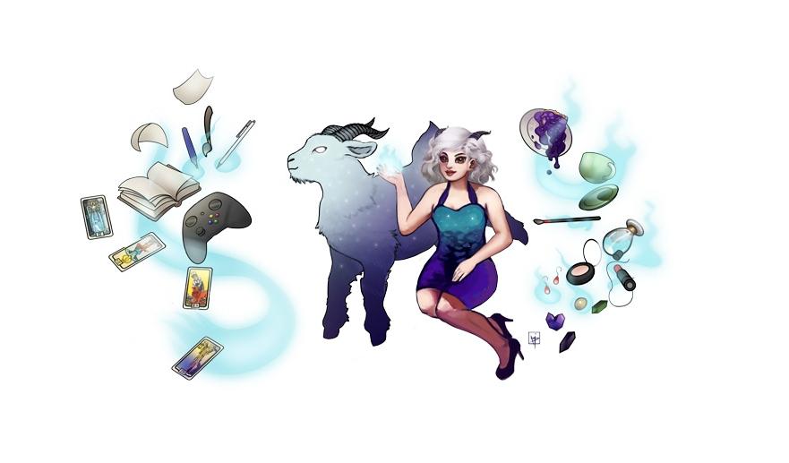 pintura digital de mascote com cabra